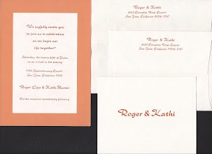 Photo: Roger and Kathi used Rondo Bold for a more contemporary look. Ink is orange plus a hint of black. I printed the invitation paper, which was later glued to orange card stock. They had me print thank you cards instead of reply cards.
