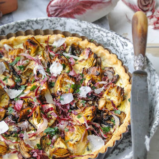 Artichoke Tart With Mushrooms & Parmesan.