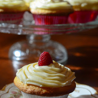 Lemon Raspberry Cupcakes with Lemon Curd Frosting.