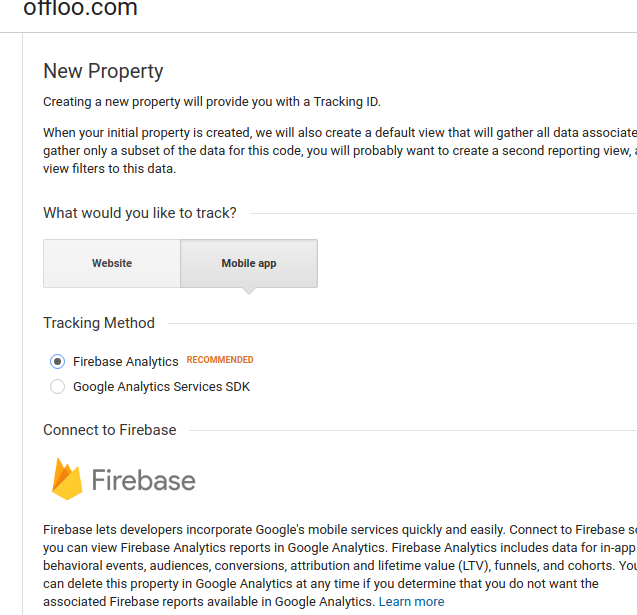 Select firebase application in google analytics