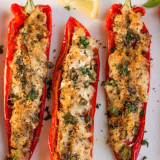 Crab Stuffed Peppers with Lemon-Basil Butter.