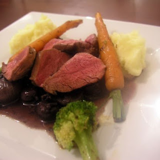 Pan-fried Venison With Shallots, Mushrooms & Wine.