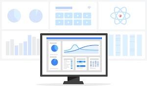 Computer monitor displaying charts and graphs