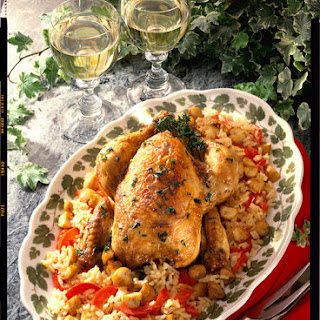 Roast Chicken with Red Pepper Risotto.