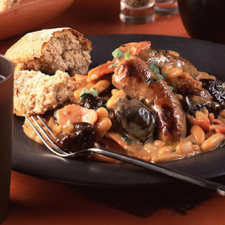 Creamy Sausages with Prunes and Bacon