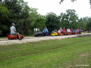Photo: Jeff Perkins on Phase I loop meets Pete Greene on the passenger main line.    HALS Public Run Day 2013-0921 RPW