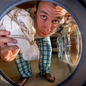 Time to wash by Ashraf Jandali - People Portraits of Men ( cloth, drop, wash, circle, laundry, washing machine, human, gary fong, self portrait, selfie,  )