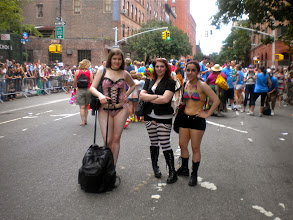 Photo: Gay pride festivities, Greenwich Street between West 10 and Christopher streets, Greenwich Village, 26 June 2011. (Photograph by Elyaqim Mosheh Adam.)