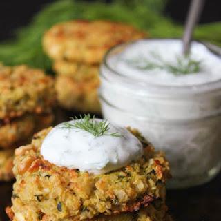 Crispy Baked Zucchini-Quinoa Cakes with Dill Yogurt Sauce