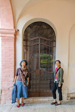 Photo: Irene and Florine outside the door/gate to our apartment.  It has a very special one of a kind key that has to be locked up before we leave the villa.