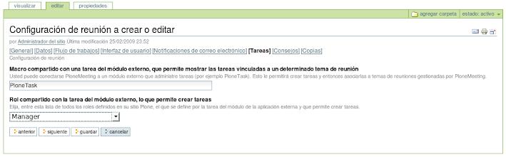 Photo: I18n y l10n al Español del producto PloneMeeting - Configuración de reunión - Editar opción Tareas