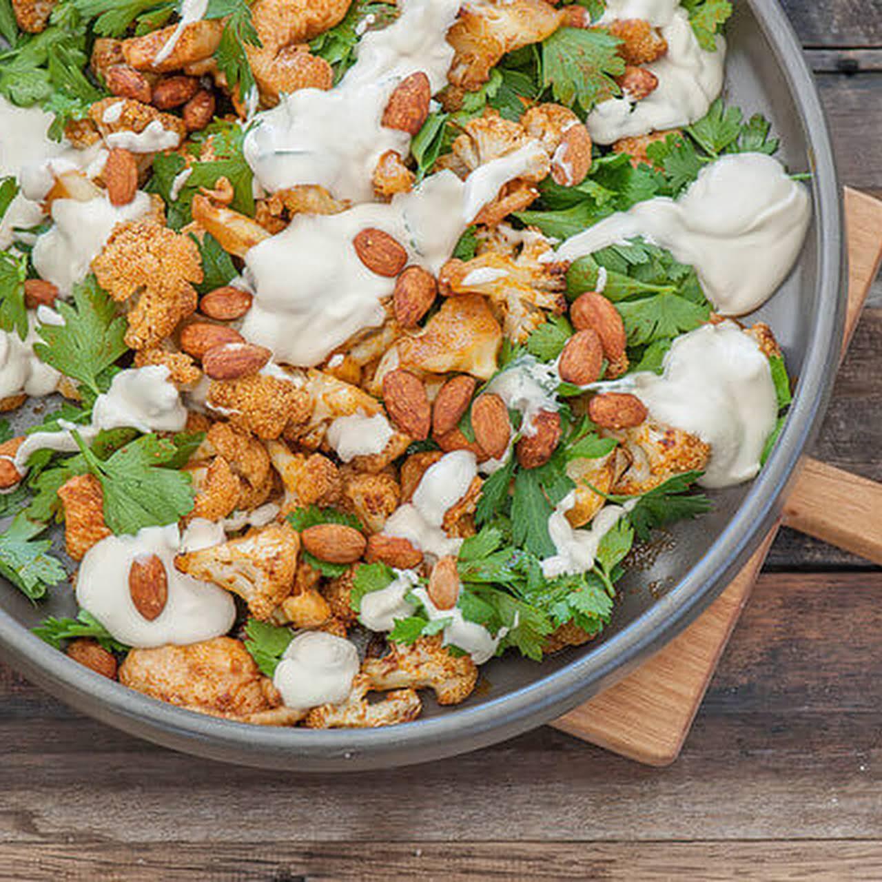 Spiced Roast Chicken & Cauliflower Salad  considering Tahini Maple Dressing