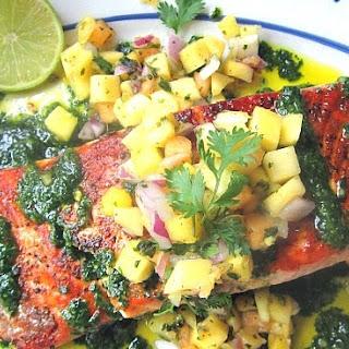 Grilled Salmon w/ Mango Salsa & Cilantro Pesto.