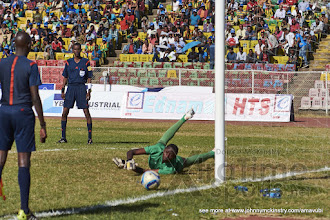 Photo: Eric NDAYISHIMIYE (1) makes a penalty shoot-out save for Rwanda [Rwanda vs Sudan, CECAFA 2015, Semi final, 3 Dec 2015 in Addis Ababa, Ethiopia.  Photo © Darren McKinstry 2015, www.XtraTimeSports.net]