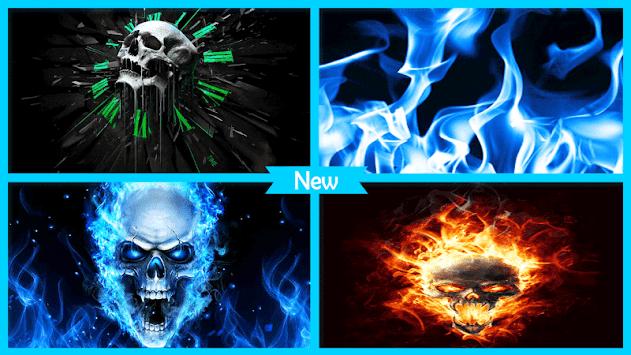 Blue Fire Skull Wallpaper Poster