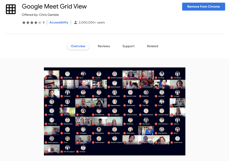 google meet grid view extension
