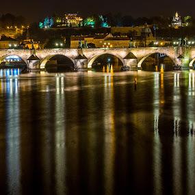 Karl's Bridge by Night by Petar Shipchanov - City,  Street & Park  Night ( vltava, czech, czech republic, karl's bridge, reflections, night, bridge, light, prague, charles bridge, river )