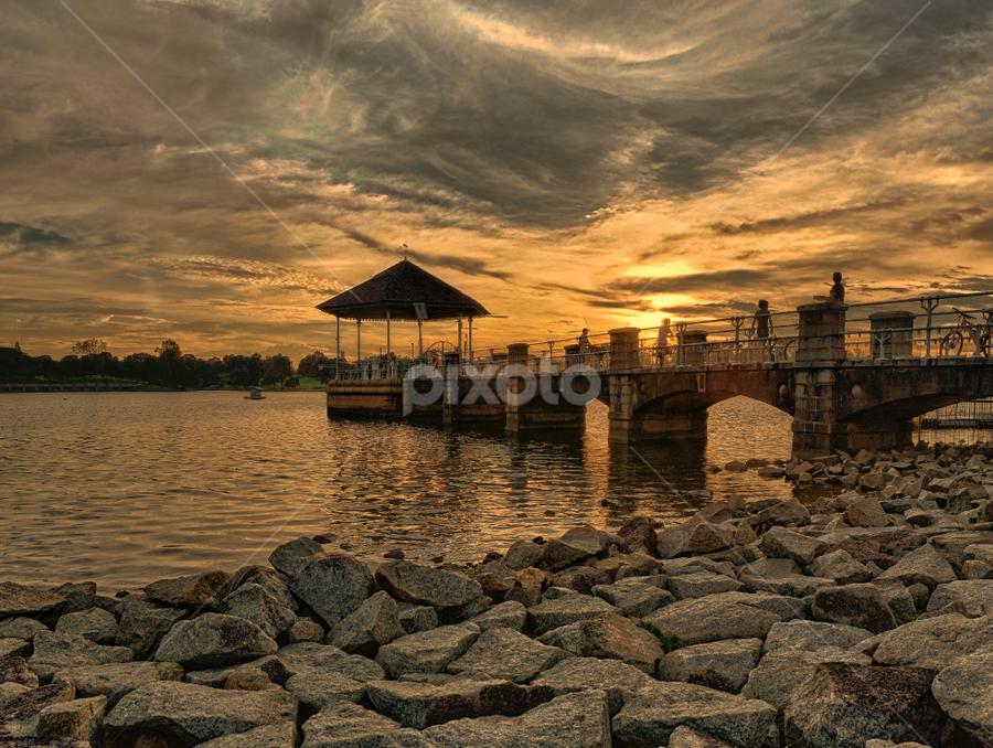 The Warm Sunset by Leo Kah Leong - Landscapes Sunsets & Sunrises ( reservoir, sunset, sunrise, singapore )