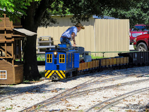 Photo: George Leventon checking out how his loco takes the track at 12:56 PM.      HALS Public Run Day 2015-0919 RPW