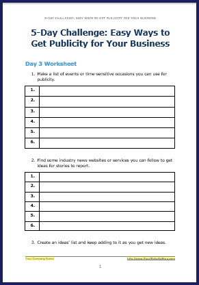 How to Attract Free Publicity - Bonus Challenge Worksheet 3