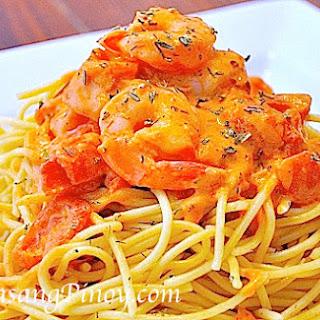 Shrimp Pasta in Tomato Cream Cheese Sauce.