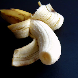 BANANA by Wojtylak Maria - Food & Drink Fruits & Vegetables ( banana, fruit, food, delicious, long, skin, cream )