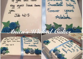 Bible shaped christening cake