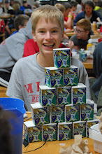 Photo: M Reuter is proud of his tower of milk cartons