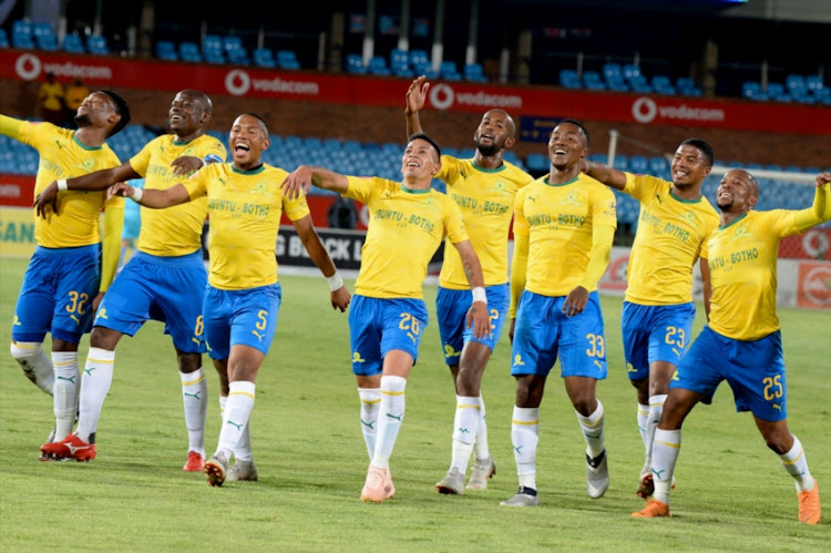 Gaston Sirino of Mamelodi Sundowns celebrates his brace with teammates dancing nayi le walk song by Dj Maphorisa during the Absa Premiership match between Mamelodi Sundowns and Free State Stars at Loftus Stadium on November 07, 2018 in Pretoria, South Africa.