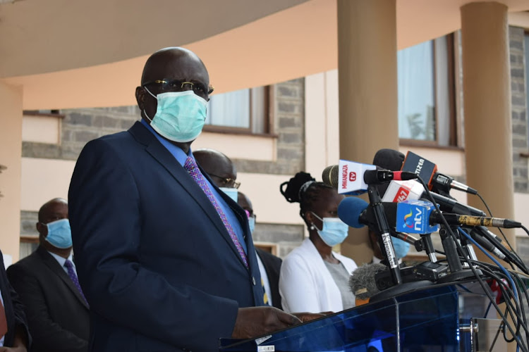 Education CS George Magoha addresses the media during the official hand over of the final report of the Covid-19 National Eduation Response Committee at KICD. June 5, 2020.