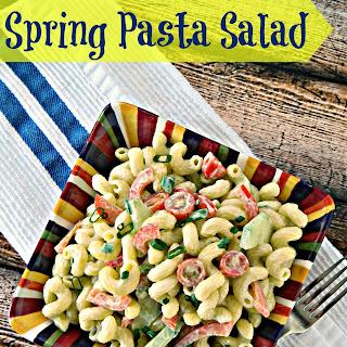 Spring Pasta Salad with Lemon Avocado Dressing