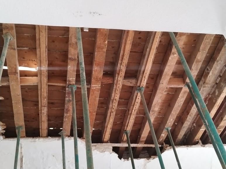Techumbre de madera en rehabilitación