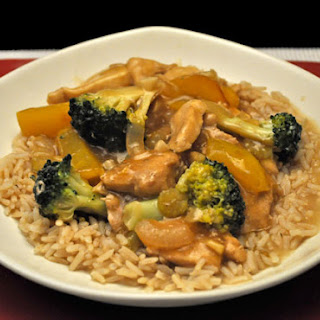 Stir-Fried Chicken with Broccoli and Peppers.
