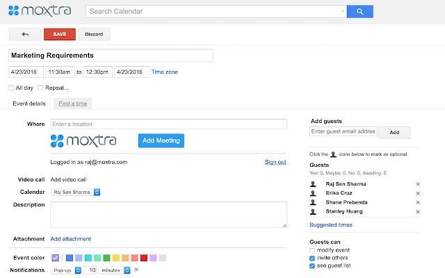 Moxtra for Google Calendar
