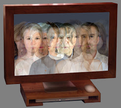 Photo: eyeline (Nicol family) • 2007 • 30 inch extra-high definition screen (in cherrywood frame) with dedicated computer (in cherrywood base) generating life-size chronophotic images • installation view