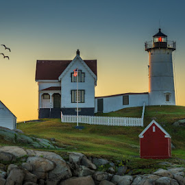 Nubble Light at Sunrise by Ed & Cindy Esposito - Buildings & Architecture Public & Historical ( atlantic ocean, maine, lighthouse, york, nubble light, island )