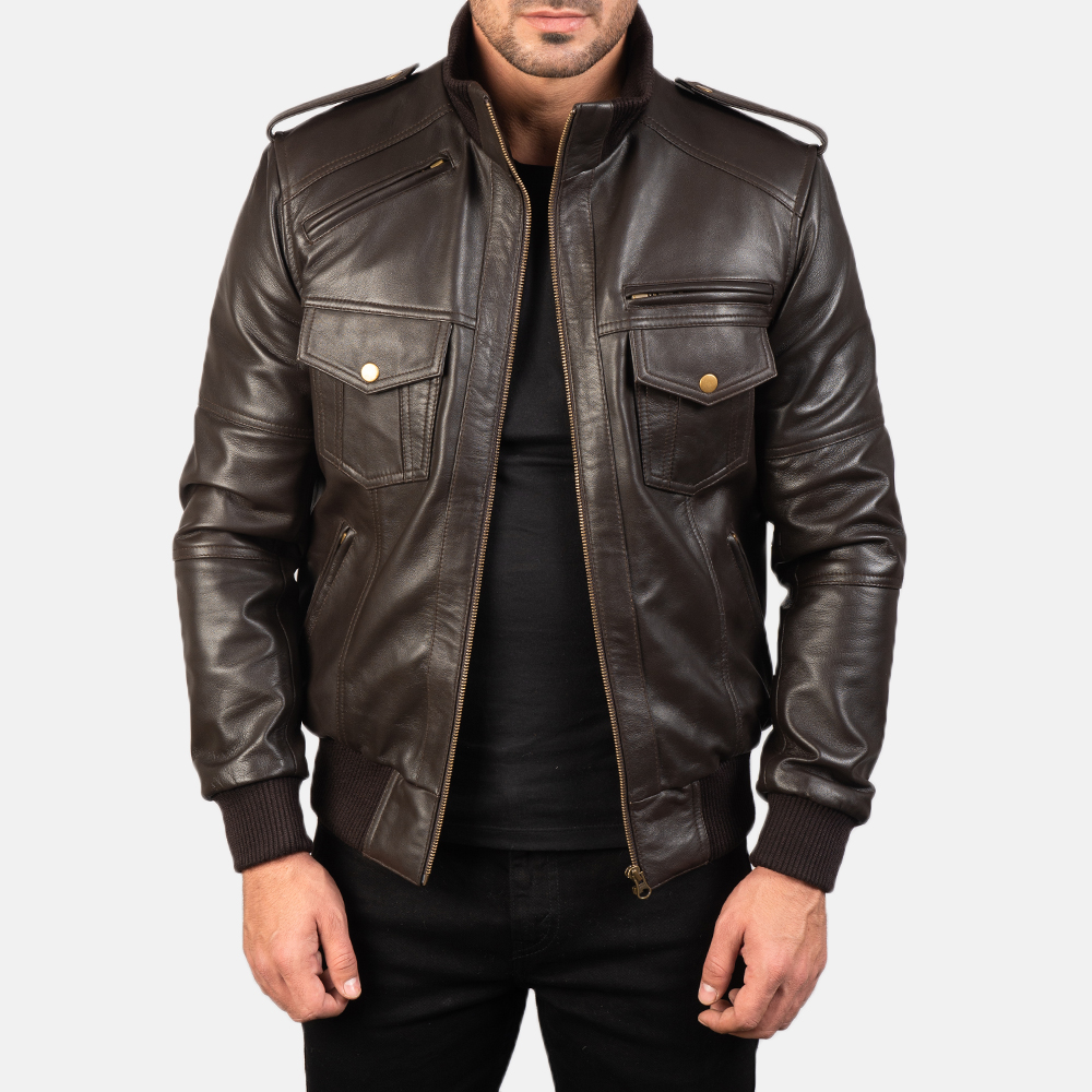 Agent Shadow Brown Leather Jacket