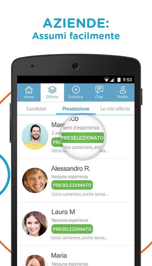 Cornerjob offerte di lavoro app android su google play for Cerco lavoro subito