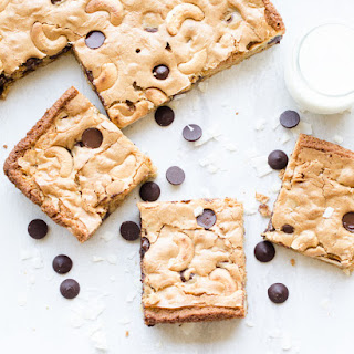 Vegan Cashew Coconut Dark Chocolate Blondies