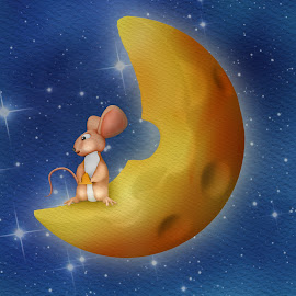 Mouse Paradise by Charlie Alolkoy - Illustration Cartoons & Characters ( moon, mouse, stars, cheese, animal )