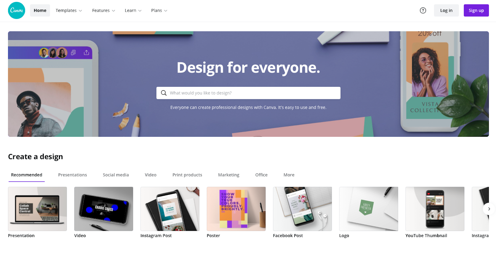 Screenshot of Canva's home page