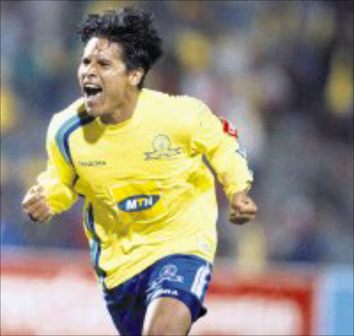 WANTED: Sundowns' Jose Torrealba. 27/06/07. Sowetan.  WE'VE DONE IT: Jose Torrealba celebrates after scoring Sundowns' third goal in their 3-1 win over Tembisa Classic. Pic: Sydney Seshibedi. 27/04/06. © SUNDAY TIMES.