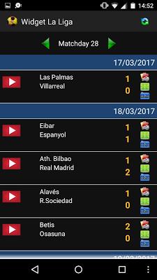 Widget La Liga 2016/17 - screenshot