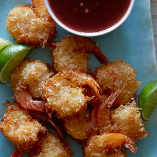 Coconut Shrimp with Raspberry Blood Orange Chile Sauce.