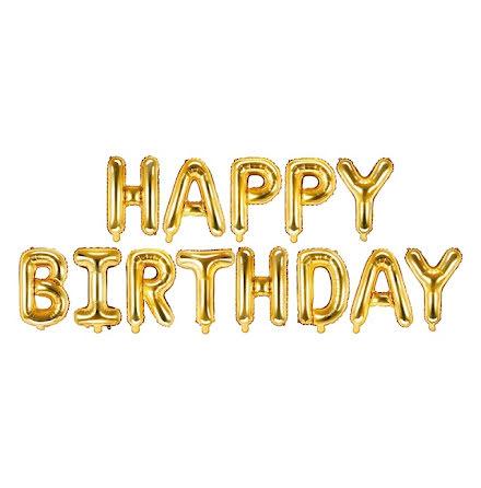 Folieballong - Happy birthday, guld