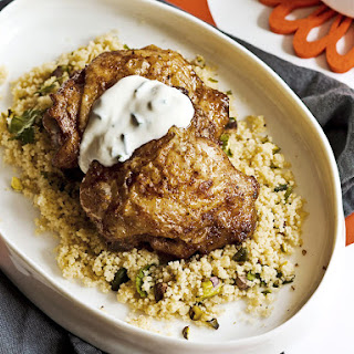 Moroccan Chicken with Pistachio-Cilantro Couscous
