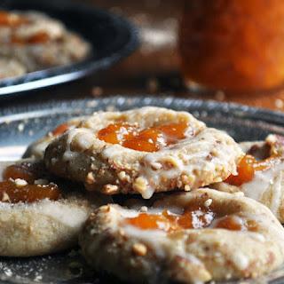 Peach Almond Shortbread Thumbprint Cookies