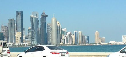 Ladies Travel to Doha Qatar City View from the Taxi