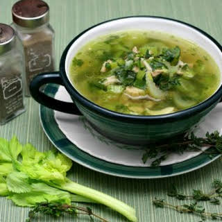 Chicken Leek Soup with Spinach.