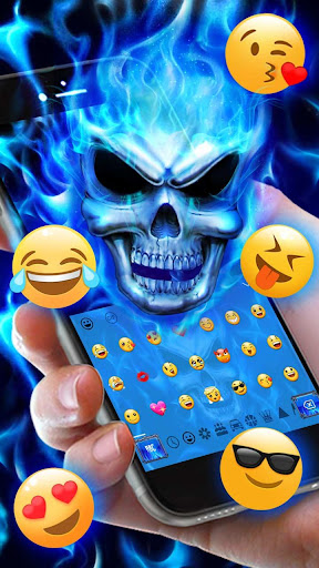Blue Fire Flaming Skull Keyboard 10001003 screenshots 3